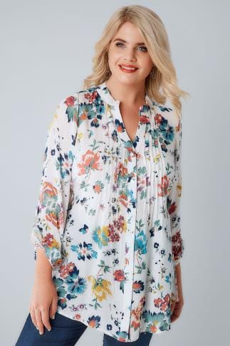 Shirts White & Multi Floral Pintuck Longline Blouse With Sequin Detail 130031