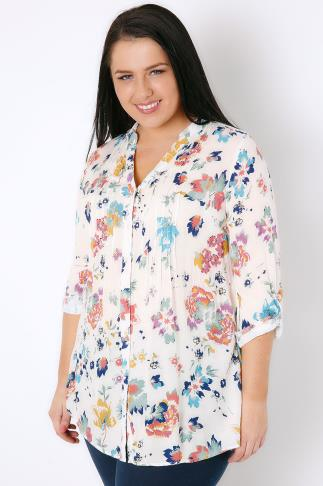 White & Multi Floral Print Sequin Detail Longline Blouse