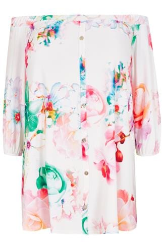 White & Multi Floral Slinky Stretch Bardot Top With Button Detail