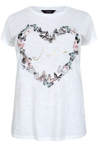 White & Multi 'J'adore' & Butterfly Print T-Shirt With Turn Back Sleeves