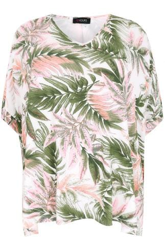 White & Multi Oversized Palm Print Top