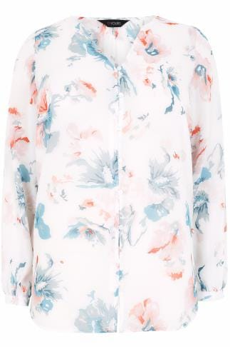 White & Multi Pretty Floral Print Chiffon Blouse