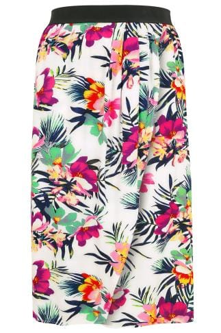 Maxi Skirts White & Multi Tropical Print Wrap Midi Skirt 160033