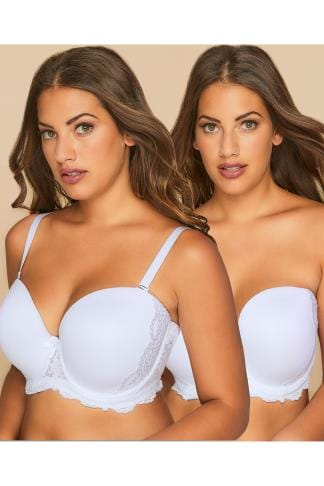 Multiway & Strapless Bras White Multiway Microfibre Lace Bra With Removable Straps 055258