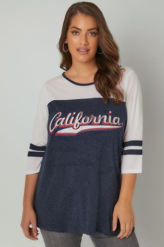 "Jersey Tops White & Navy Colour Block ""California"" Jersey Top 132086"