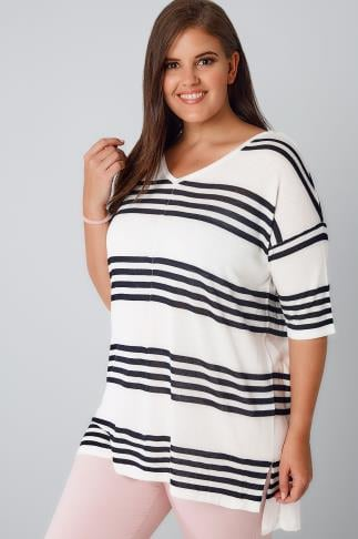 Jumpers White & Navy Stripe Fine Knit Jumper With Drop Shoulder Sleeves 124015