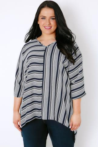 White & Navy Stripe Oversized Woven Top With Wrap Back