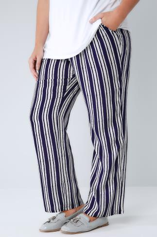 Wide Leg & Palazzo Trousers White & Navy Stripe Palazzo Trousers With Elasticated Waist 142004