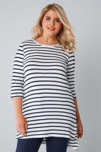 Knitted Tops White & Navy Stripe Ribbed Longline Fine Knit Top With Step Hem 132215