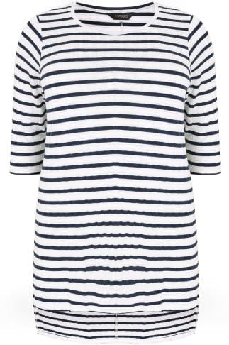 White & Navy Stripe Ribbed Longline Fine Knit Top With Step Hem