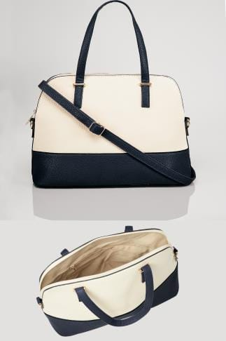 White & Navy Two Tone Tote Bag