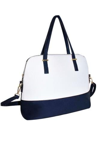 Shopper & Tote Bags White & Navy Two Tone Tote Bag 152412