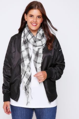 White & Navy Wide Check Scarf 101506