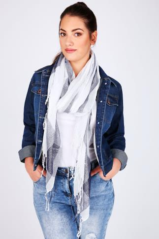 Scarves White & Navy Wide Check Scarf With Metallic Thread 100112