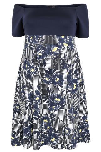 White, Navy & Yellow Floral & Stripe Bardot Skater Midi Dress