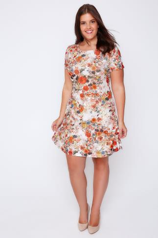 Midikleider White, Orange & Blue Floral Print Short Sleeved Skater Dress 103070
