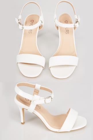 White Patent Square Toe Heeled Sandals With Ankle Strap In EEE Fit