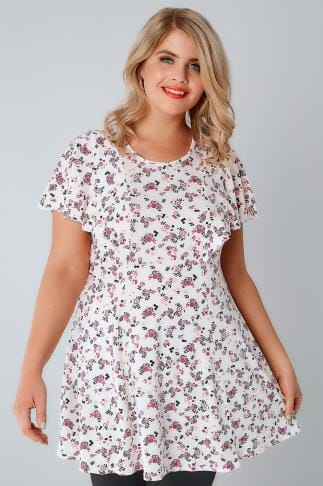 Jersey Tops White & Pink Ditsy Floral Peplum Top With Frill Angel Sleeves 134179