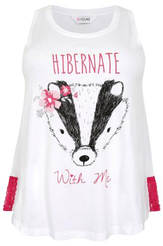 White & Pink Lace Badger 'Hibernate With Me' Print Pyjama Vest Top