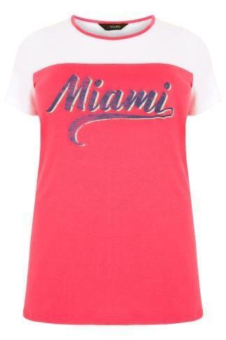 "White & Pink ""Miami"" Print T-Shirt"