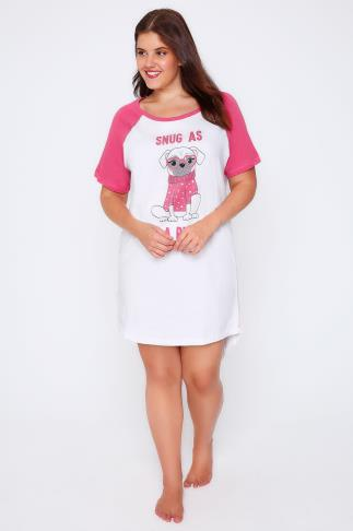 White & Pink 'Snug As A Pug' Print Night Dress