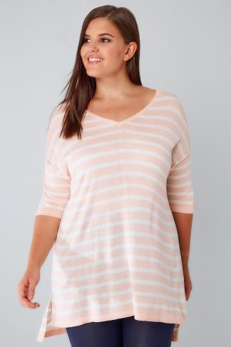 White & Pink Stripe Fine Knit Jumper With Drop Shoulder Sleeves 124014