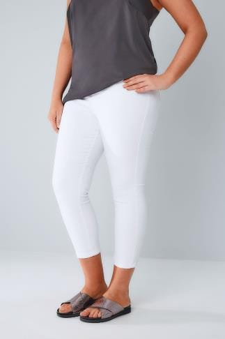 Cropped Jeans White Pull On Stretch Cropped Jeggings 100186