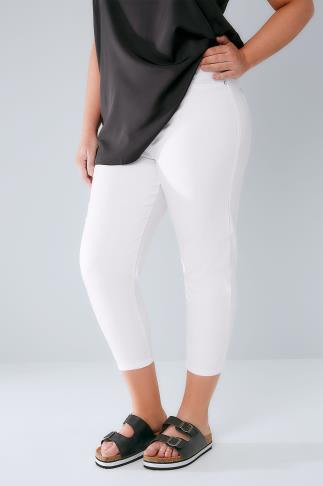 White Pull On Stretch Cropped Jeggings 144015