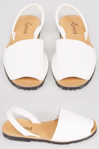 White Real Leather Peep Toe Sandals In E Fit