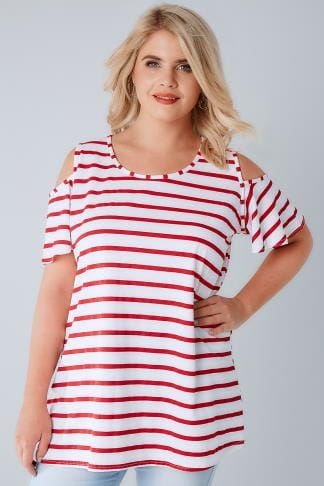 Jersey Tops White & Red Stripe Cold Shoulder Jersey Top 170234