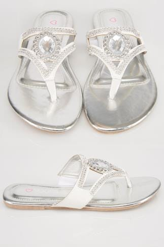 Wide Fit Sandals White Rhinestone Toe Post Diamante Sandals In A EEE Fit 057074