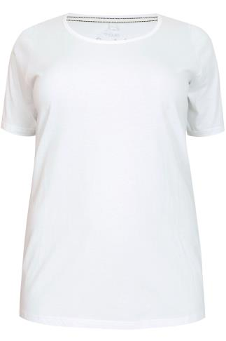 White Scoop Neck Basic Cotton T-Shirt