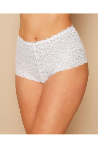 Briefs & Knickers White Shine Lace Shorts 014287
