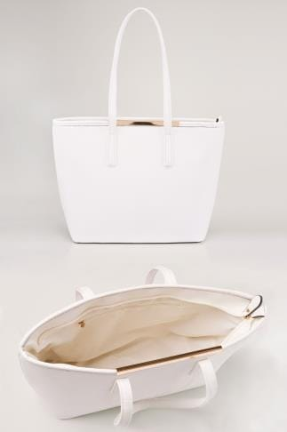 White Shopper Bag With Metal Bar Detail