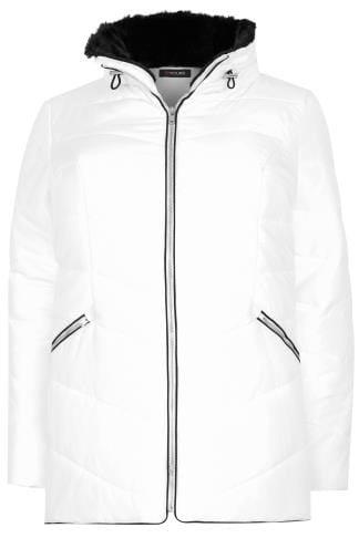 White Short Quilted Puffer Jacket With Foldaway Hood
