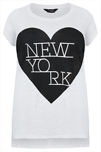 "White Short Sleeve ""New York"" Print T-shirt"