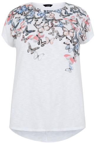 White Short Sleeve T-Shirt With Butterfly Print