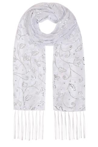 White & Silver Foil Floral Print Shimmer Scarf 152066