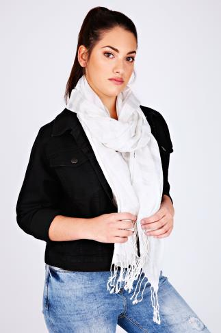 White & Silver Metallic Thread Striped Oversized Scarf 100110
