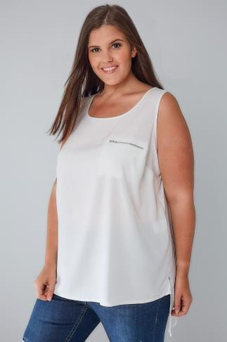 Basic T-Shirts & Vests White Sleeveless Dipped Hem Top With Zip Pocket Detail 102584