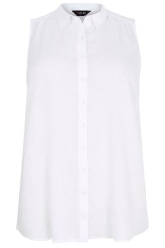 White Sleeveless Dobby Blouse