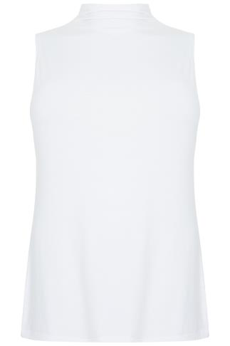 White Sleeveless Turtle Neck Soft Touch Jersey Top