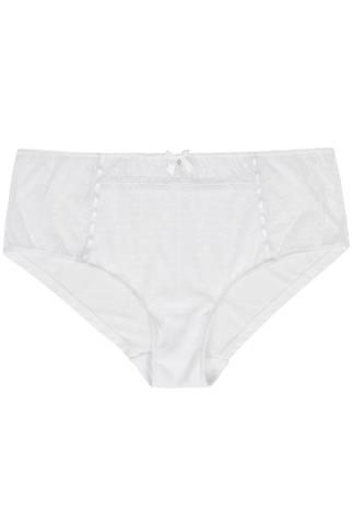 White Spotted Mesh Briefs With Ribbon Detail