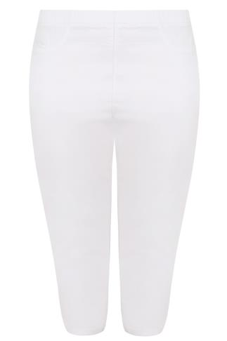 White Pull On Stretch Cropped Jeggings