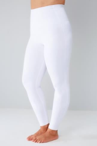 White TUMMY CONTROL Viscose Elastane Leggings 142045