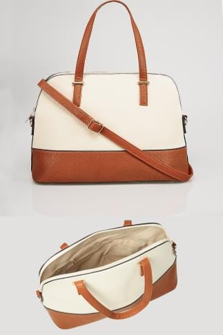 Shopper & Tote Bags White & Tan Two Tone Tote Bag 152414