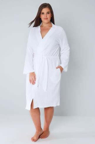 Bademäntel White Textured Cotton Dressing Gown With Pockets 148055