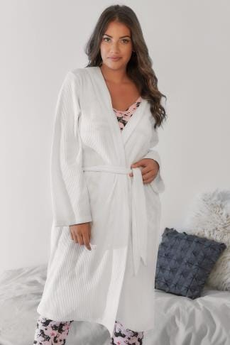 Dressing Gowns White Textured Cotton Dressing Gown With Pockets 148055