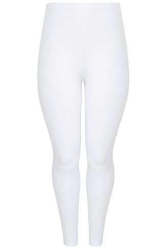 White Viscose Elastane Leggings