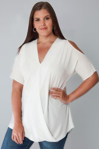 Blouses & Shirts White Wrap Front Top With Cold Shoulder Cut Outs 103337
